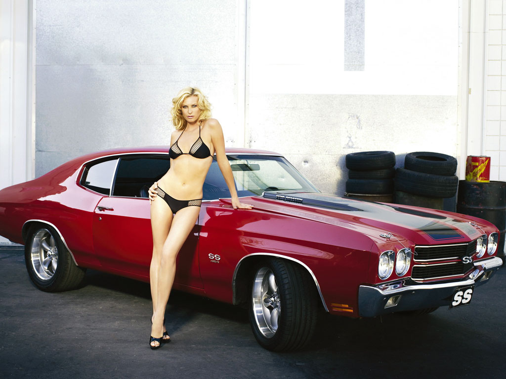 Sexy Girl and Chevelle Muscle Car