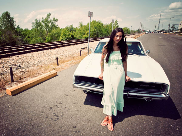 Gabrielle + 1969 White Dodge Charger RT